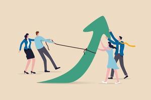 teamwork en samenwerkingscollega's, saamhorigheid en elkaar ondersteunen om het bedrijfsdoelconcept te bereiken, een groep zakenlieden en -vrouwen kantoormedewerkers helpen en ondersteunen om de pijl omhoog te trekken. vector
