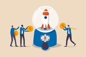 fondsenwerving, geld inzamelen om een project te lanceren of mensen dragen een budget en financieel ondersteuningsconcept bij, mensen zakenlieden die dollargeldmunten vasthouden om bij te dragen in de kauwgomballenmachine om een raket te lanceren.