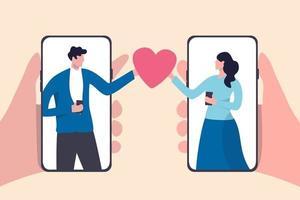 online dating mobiele applicatie, met behulp van digitale datingservice om minnaar of relatieconcept te vinden, jong koppel duizendjarige man en vrouw met behulp van slimme telefoontoepassing en met romantisch hart.