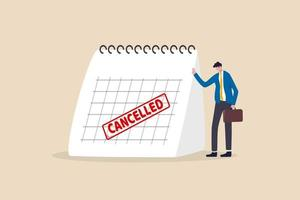 zakenreis geannuleerd, marketingevenement, plan om nieuw product te lanceren uitgesteld of geannuleerd vanwege covid-19 coronavirus pandemie concept, trieste zakenman die staat met kalender met rode geannuleerde stempel