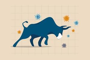 bull-markt in covid-19-uitbraak, aandelenmarkt herstellen van coronaviruscrisis of economische stimulans maken aandelenkoers stijgend concept, woedende stier met gezichtsmasker op grafiek en grafiek, viruspathogeen.