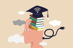 online studie, externe universiteit of e-learning en internetonderwijs of online onderwijsconcept, slimme man met gestapelde boeken in zijn hersenen met afstudeerhoed met wifi-signaal op internet. vector