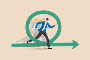 agile methodologie voor bedrijfs- of softwareontwikkeling, flexibiliteitswerk in een modern bedrijfsbeheerconcept, slimme zakenman die snel rent met agility-effect op circulaire agile levenscyclusworkflow.