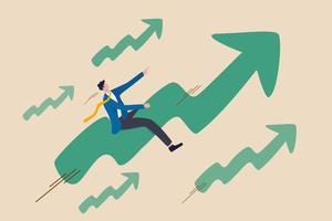 beurskoers stijgt omhoog in bull market, positief opgroeien bedrijf of ambitie voor winnaar investeerder concept, vertrouwen zakenman rijden hoge snelheid groene stijgende grafiek naar de top. vector