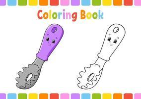 kleurboek voor kinderen. stripfiguur. vector illustratie. fantasiepagina voor kinderen. zwart contour silhouet. geïsoleerd op een witte achtergrond.