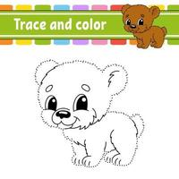 stip naar stip spel beer. teken een lijn. voor kinderen. activiteit werkblad. kleurboek. met antwoord. stripfiguur. vector illustratie.