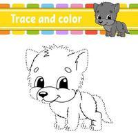 stip naar stip spel wolf. teken een lijn. voor kinderen. activiteit werkblad. kleurboek. met antwoord. stripfiguur. vector illustratie.