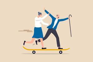 gelukkig pensioen, actieve senior geniet van het leven na pensionering of gezondheidszorg en verzekering voor ouderen vergrijzing samenleving concept, gelukkig bejaarde echtpaar opa en grootmoeder genieten van het leven draait op skateboard. vector
