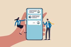chat mobiele applicatie voor bedrijven, teamwerk met behulp van technologie om te communiceren of samen te werken in werkconcept, zakenman en zakenvrouw communiceren met mobiele app op grote hand met slimme telefoon