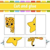 knippen en spelen. papieren spel met lijm. flash-kaarten. onderwijs werkblad. activiteitenpagina. grappig karakter. geïsoleerde vectorillustratie. cartoon stijl.