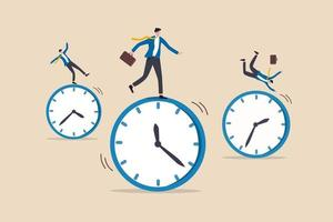 tijdmanagement, werkschema en deadline of productiviteit en efficiëntie werkconcept, zakenlieden rijden met rollende wijzerplaat met vertrouwen bekwame man in het midden succes slagen erin om doel te bereiken