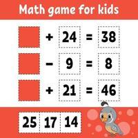 wiskundig spel voor kinderen. onderwijs ontwikkelend werkblad. activiteitenpagina met afbeeldingen. spel voor kinderen. kleur geïsoleerde vectorillustratie. grappig karakter. cartoon stijl. vector