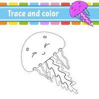 stip om spel te stippelen. teken een lijn. voor kinderen. activiteit werkblad. kleurboek. met antwoord. stripfiguur. vector illustratie.