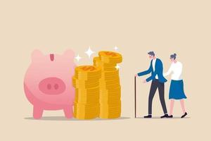 pensioen beleggingsfonds, 401k of roth ira besparingen voor een gelukkig leven na pensionering en financiële vrijheid concept, rijke senior paar oudere man en vrouw staan met gestapelde dollar munten roze spaarvarken. vector