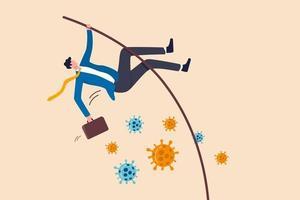 bedrijf om te overleven in coronaviruscrisis of succesprobleem op te lossen en bedrijfsdoel te bereiken in covid-19 pandemisch concept, zelfverzekerde zakenmanleider springt polsstokhoogspringen over coronaviruspathogeen. vector