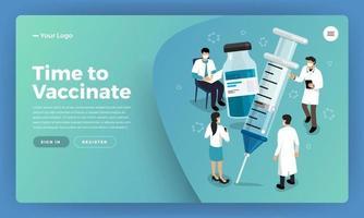 vector vaccinatie concept. gezonde medicijnvaccinatie, injectie. geïsoleerde vectorillustratie.