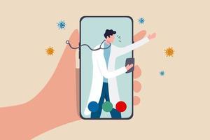 telehealth gezondheidszorg technologie arts kan een diagnose stellen en de patiënt helpen via de mobiele telefoon of het teleconferentieconcept, de hand van de patiënt draagt de mobiele applicatie met de arts, de arts diagnosticeert het virussymptoom.