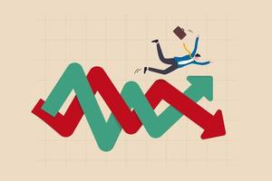 financiële investeringsvolatiliteit, onzekerheid of verandering in zaken en aandelenmarkt als gevolg van coronavirus-crisisconcept, zakenmaninvesteerder valt op onzekerheid, vluchtige pijl omhoog en omlaag winstgrafiek