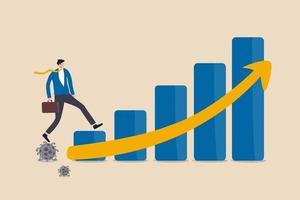economisch herstel na coronavirus covid-19-crisis, post-pandemisch concept, werkende zakenmaninvesteerder of bedrijfsleider die op coronavirus-pathogeen loopt tot opgroeien economisch staafdiagram pijl omhoog. vector