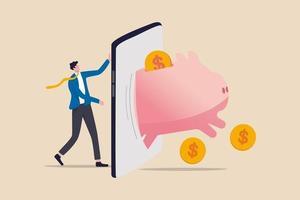 fintech financiële technologie, bankmobiele app voor het uitgeven van investeringen en besparingsconcept, zakenmaninvesteerder staat met mobiele applicatie met rijke roze spaarvarken met geldmunten springen