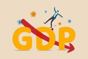 bruto binnenlands product, bbp-daling als gevolg van covid-19 coronavirus-uitbraak wereldwijd concept van economische recessie, zakenman valt van groot alfabet bbp met rode pijl naar beneden en viruspathogeen. vector