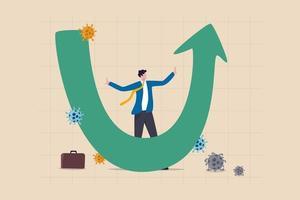 u-vorm economisch herstel na coronavirus covid-19 crashconcept, zakenman professional analyseert wereldeconomie, zaken zullen herstellen en herstellen in u-vorm grafiek en grafiek met viruspathogeen vector