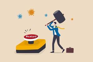 herstart bedrijf na coronavirus covid-19 lockdown, heropening bedrijfsmedewerker terugkeer naar normaal bedrijfsconcept, zakenmanleider draagt gezichtsmasker gebruik enorme hamer om op noodherstartknop te drukken. vector