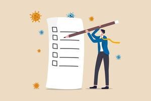 rampen- en crisismanagement, covid-19 coronavirus-bedrijfsplan voor pandemische crisis, takenlijst of nieuw normaal post-pandemisch concept, zakenman met potlood schrijven checklist, viruspathogeen. vector