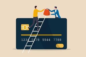 elektronische betaling voor online winkelen, betalingsopdracht met creditcard of bankpas via e-commerce websiteconcept, klant op ladder boven creditcard haal alle boodschappentassen van winkeleigenaar, online betaling