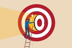 geheim om succes te zijn, bedrijfsstrategie om doel of doel te bereiken, doelstelling of loopbaanuitdagingsconcept, zakenman die de ladder opklimt naar een groot dartbord of boogschietendoel en een rooskleurige deur opent. vector