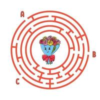 cirkel doolhof. spel voor kinderen. puzzel voor kinderen. rond labyrint raadsel. kleur vectorillustratie. vind het juiste pad. onderwijs werkblad.