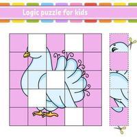 logische puzzel voor kinderen duif. onderwijs ontwikkelend werkblad. leerspel voor kinderen. activiteitenpagina. eenvoudige vlakke geïsoleerde vectorillustratie in leuke cartoonstijl.