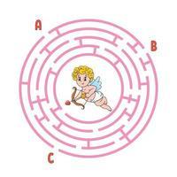 cirkel doolhof cupido. spel voor kinderen. puzzel voor kinderen. rond labyrint raadsel. kleur vectorillustratie. vind het juiste pad. onderwijs werkblad.