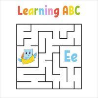 vierkante doolhof envelop. spel voor kinderen. quadrate labyrint. onderwijs werkblad. activiteitenpagina. Engels alfabet leren. cartoon stijl. vind de juiste weg. kleur vectorillustratie. vector