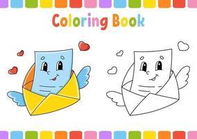 kleurboek voor kinderen envelop. stripfiguur. vector illustratie. fantasiepagina voor kinderen. Valentijnsdag. zwart contour silhouet. geïsoleerd op een witte achtergrond.
