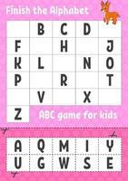 maak het alfabet af. abc-spel voor kinderen. knip en lijm. onderwijs ontwikkelend werkblad. leerspel voor kinderen. kleur activiteitenpagina.