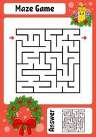 vierkante doolhof kaars. spel voor kinderen. winter thema. grappig labyrint. onderwijs ontwikkelend werkblad. activiteitenpagina. cartoon stijl. raadsel voor de kleuterschool. logisch raadsel. kleur vectorillustratie.