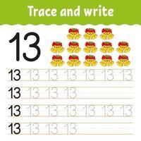 leer nummer 13. traceer en schrijf. winter thema. handschrift praktijk. cijfers leren voor kinderen. onderwijs ontwikkelend werkblad. kleur activiteitenpagina. geïsoleerde vectorillustratie in leuke cartoonstijl.