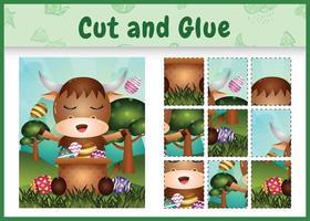 bordspel voor kinderen geknipt en gelijmd als thema Pasen met een schattige buffel in het emmer-ei