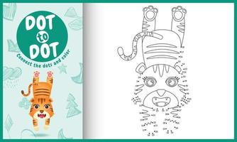 verbind het stippen-kinderspel en kleurpagina met een schattige illustratie van het tijgerkarakter vector