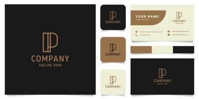 eenvoudig en minimalistisch gouden lijntekeningen letter p-logo met sjabloon voor visitekaartjes