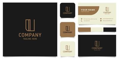 eenvoudig en minimalistisch gouden lijntekeningen letter u-logo met sjabloon voor visitekaartjes