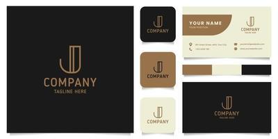 eenvoudig en minimalistisch gouden lijntekeningen letter j-logo met sjabloon voor visitekaartjes