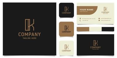 eenvoudig en minimalistisch gouden lijnwerk letter k-logo met sjabloon voor visitekaartjes
