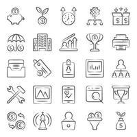 doodles met betrekking tot kantoor, werk en financiën vector