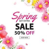 lente verkoop vierkante banner met bloeiende bloemen achtergrond sjabloon. ontwerp voor reclame, flyers, posters, brochure, uitnodiging, tegoedbon korting.