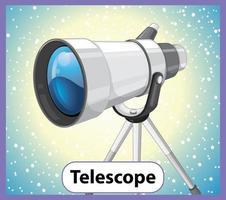 educatieve Engelse woordkaart van telescoop