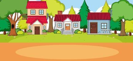 buitenscène met de voorkant van veel huizen