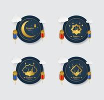 ramadan gouden badges met geplaatste ornamenten vector