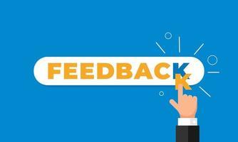 online feedback, reputatie, kwaliteit, klantbeoordeling concept vlakke stijl. zakenman hand vinger wijzen letter k in woord als beoordeling. vector illustratie. eps10